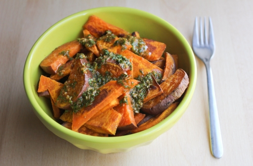 Buttercup squash and sweet potatoes with tangy chermoula