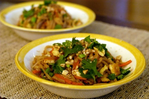 Bill and I made pad thai for Valentine's Day last year --- and the result was pretty awful. The amount of fish sauce that recipe called for totally overwhelmed the dish and tasted like a dirty ocean. This Martha Stewart recipe, however, had one of the shortest list of sauce ingredients: only three. Looks like simple is best for pad thai.