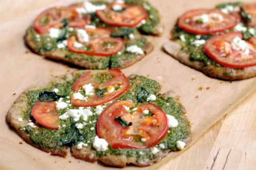 Pita pizzas with mint-arugula pesto