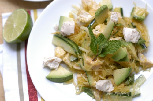 Spaghetti squash and avocado salad with chicken